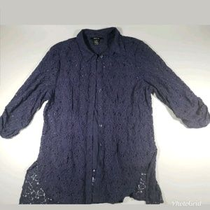 Style & Co Blue Lace Overlay Blouse sz XL